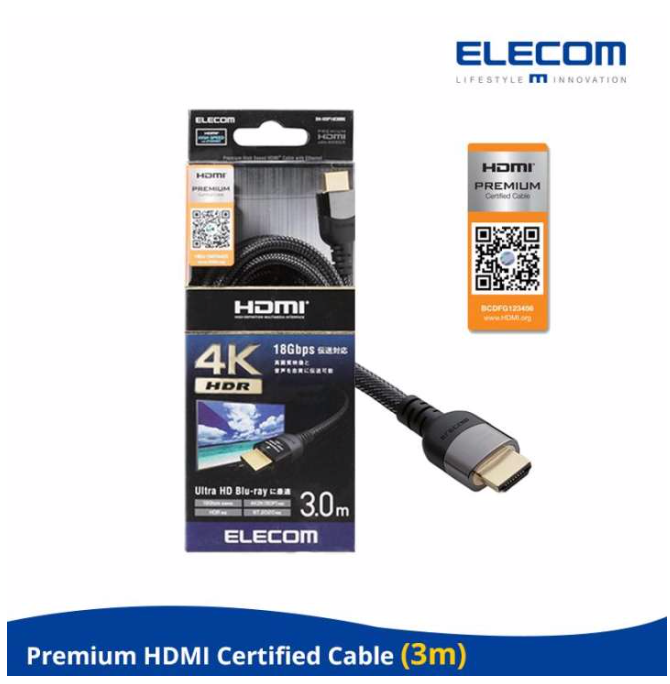 ELECOM 'PREMIUM HDMI Cable / 18Gbps Transmission (3 METER)