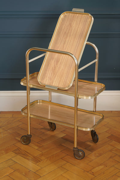 1970's Slim Rectangular Gold Metal Bar Cart