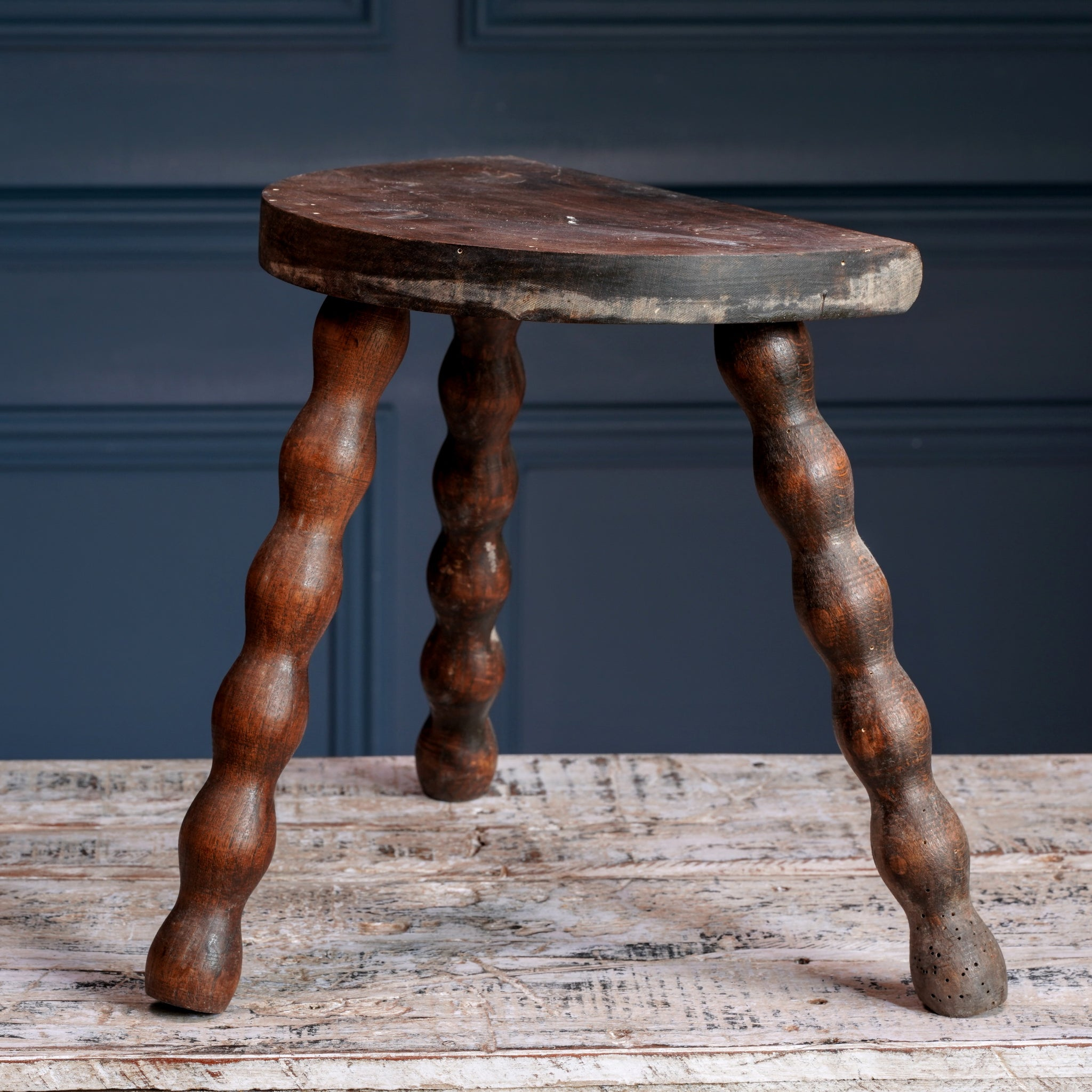 Small Dark Wood Half-Moon Milking Stool
