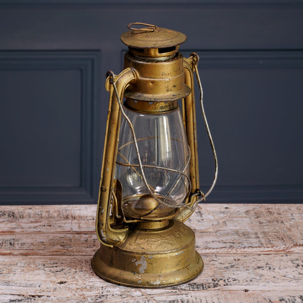 Large Gold Metal Hurricane Lamp