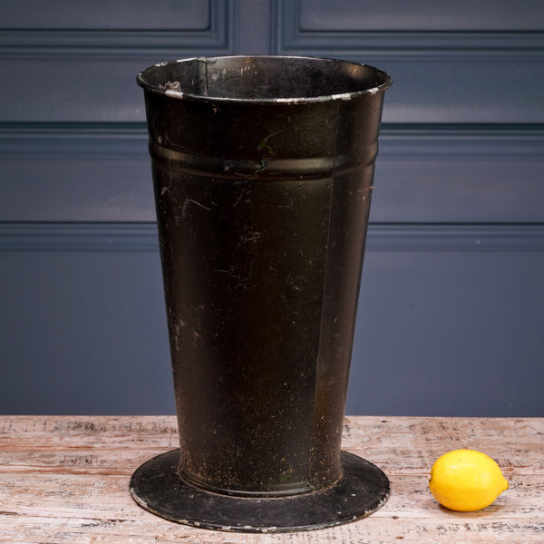 Black Enamel Florist Bucket with Stand