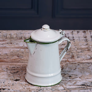 Mini White Enamel Jug with Lid
