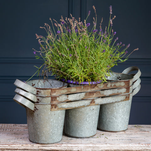 Silver Metal Trio of Planters