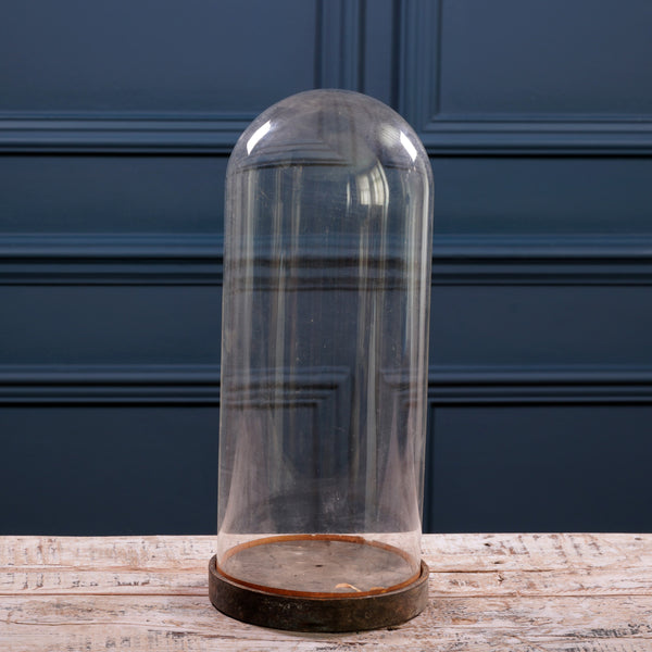 Medium Round Glass Cloche with Wooden Base