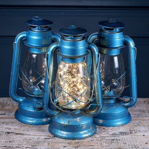 Large Blue Metal Hurricane Lamps