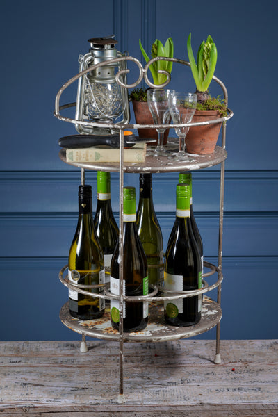 Round Metal Two Tier  Bar Cart