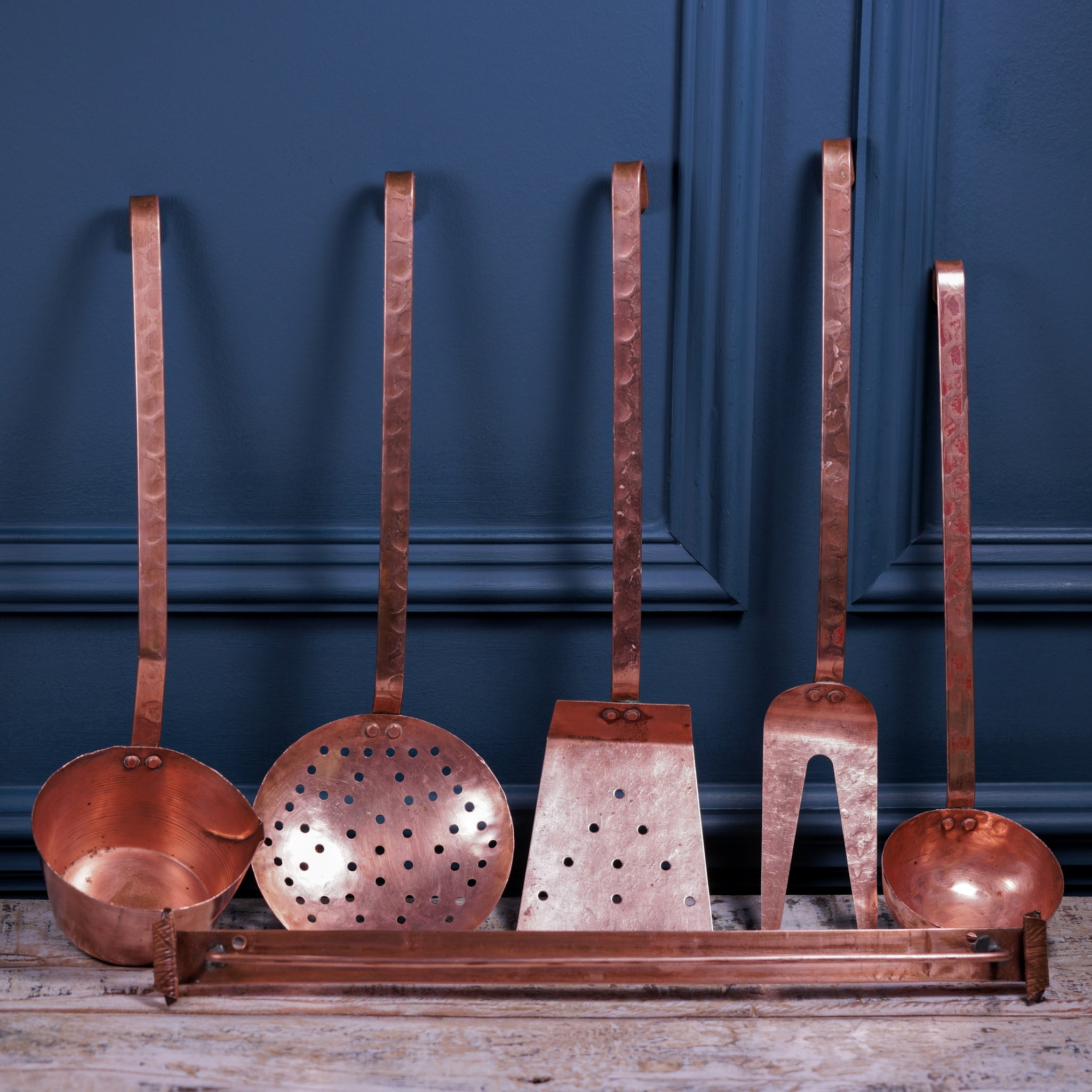 Set of Five Copper Utensils with Rack