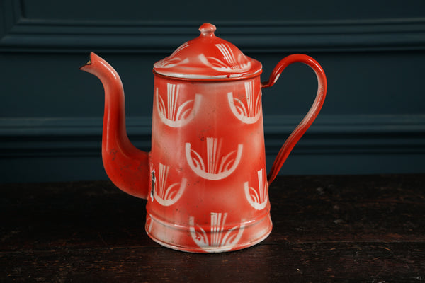 Red Pattern Double Handle Enamel Cafetiere