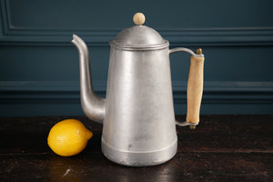 Silver Metal Cafetiere With Wooden Handle