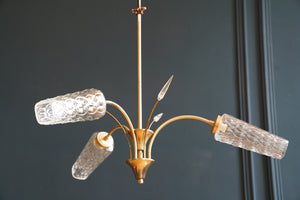 Three Arm Etched Glass And Brass Ceiling Light