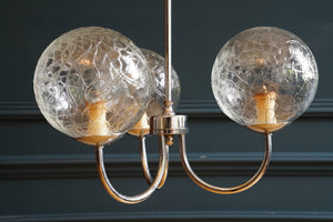 Crackle Glass and Chrome Ceiling Light