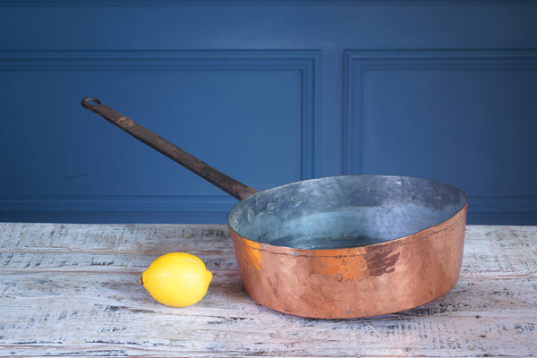 Large Copper and Cast Iron Deep Frying Pan