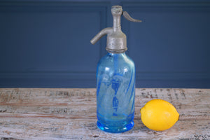 Small Blue Glass Soda Siphon