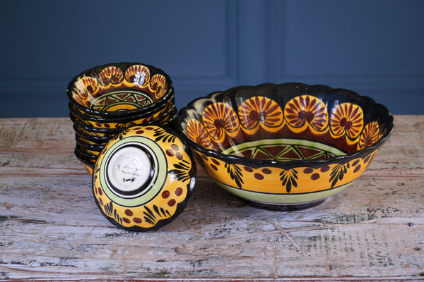 Set of Eight 1970's Mini Dessert Bowls and Matching Serving Bowl
