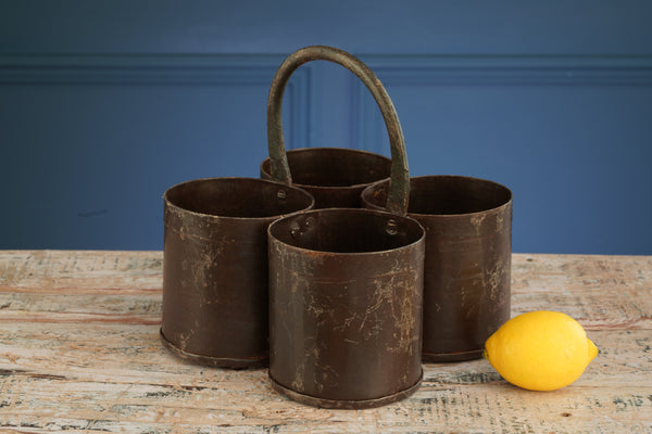 Four Metal Buckets with Hoop Handle