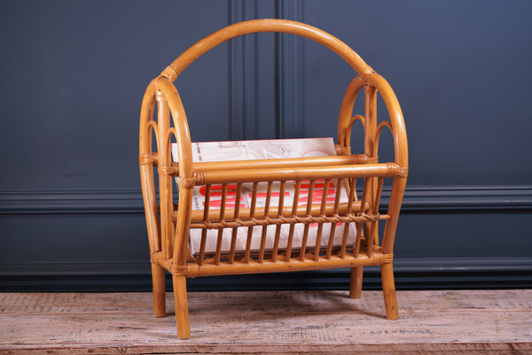 Pale Bamboo Magazine Rack with Rounded Handle