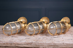 Large Brass Bulkhead Wall Sconce