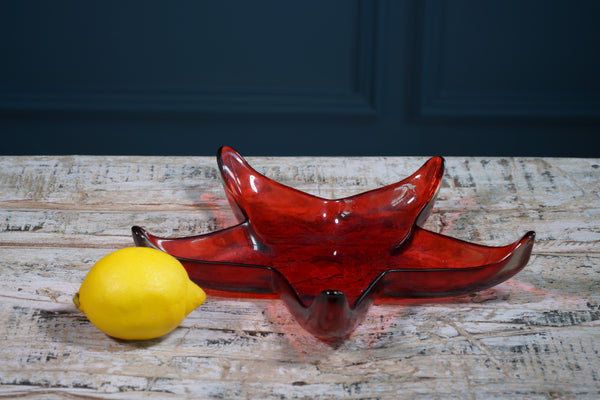 Red Glass Starfish Serving Platter