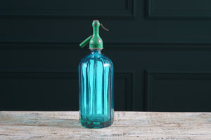 Teal Vertical Ripple Glass Soda Siphon