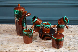 Brown and Teal Coffee Set 1970's