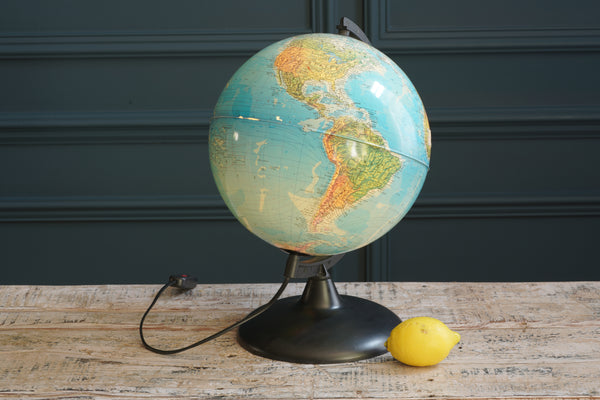 Vintage Earth Light Up Globe with Black Frame