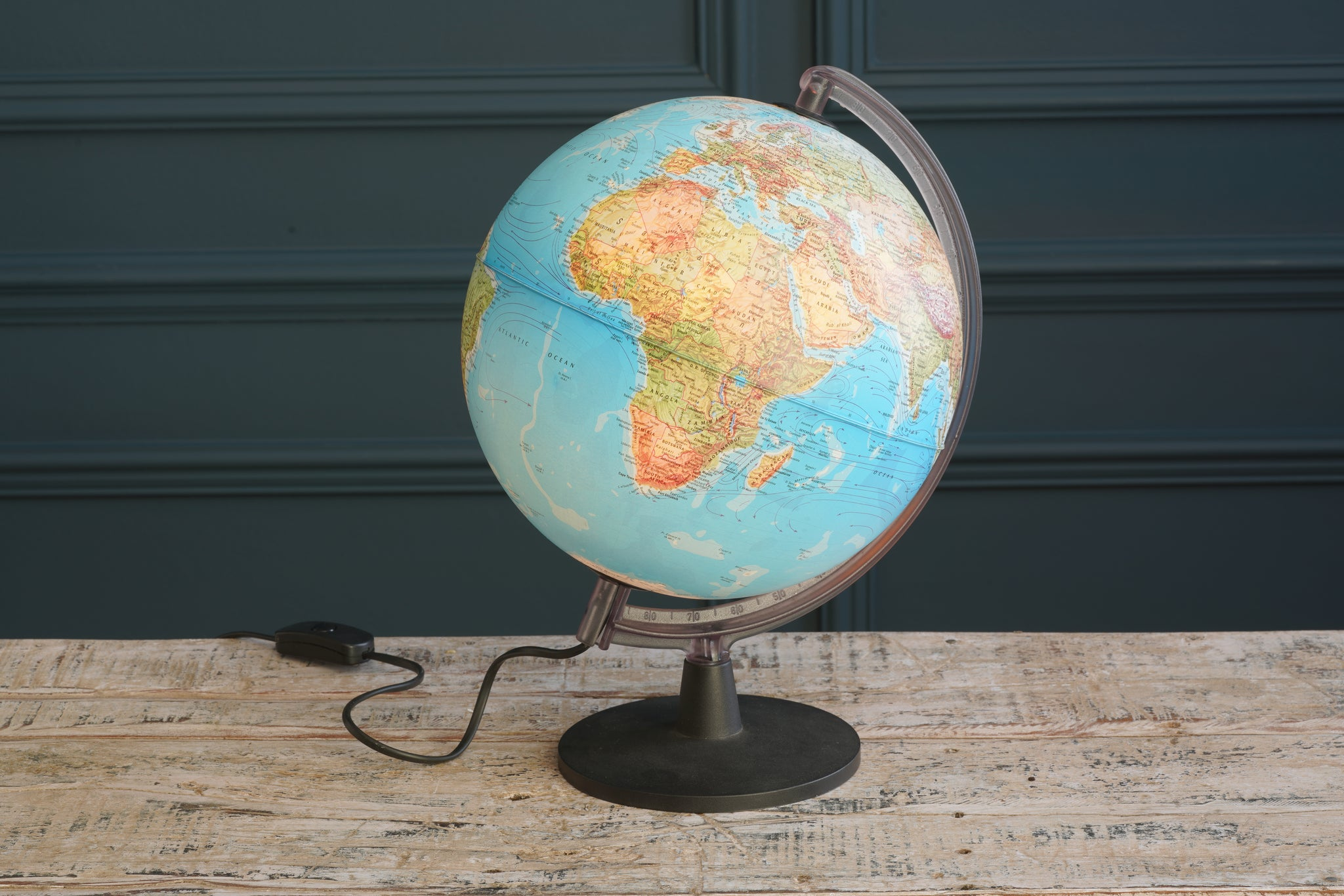 Vintage Earth Light Up Globe with Black and Clear Frame