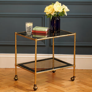 Bamboo Brass and Glass Table on Wheels