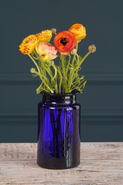 Peacock Blue Glass Vase