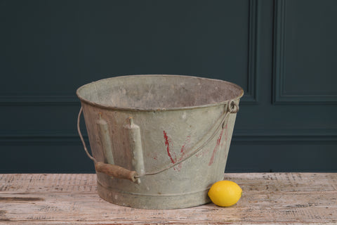 Galvanized Bucket with Wooden Handle