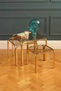 Set of Three Brass Nest of Tables