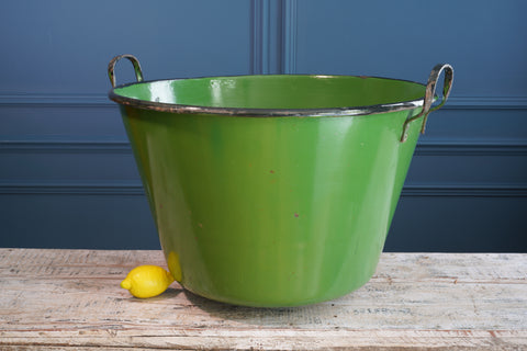 Large Green Enamel Bucket with Handles