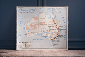 French School Map Of 'Australie'/ 'Asie Economique'