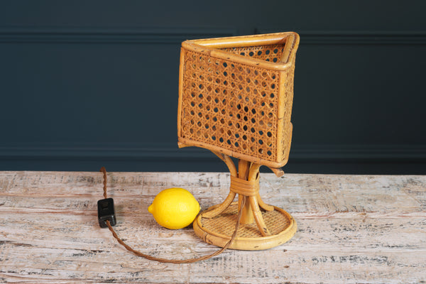 1970's Bamboo and Rattan Small Lamp