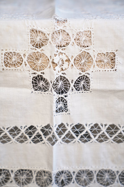 Handmade Lace and Linen Bedspread