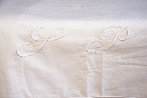 White Cotton Top Sheet with SP Monogrammed