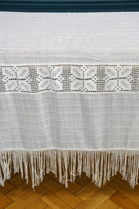 White Crochet and Sheer Checked Bedspread with Fringing