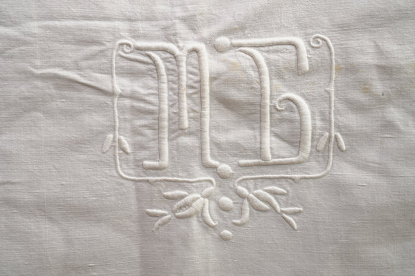 White Linen Top Sheet with floral and MB embroidery