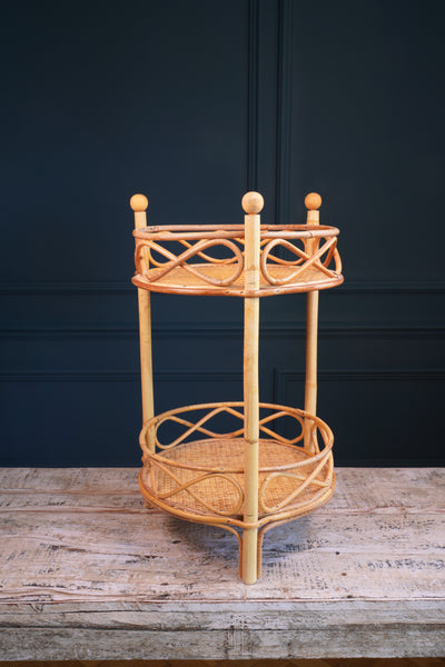 Round Bamboo Side Table with Two Tiers