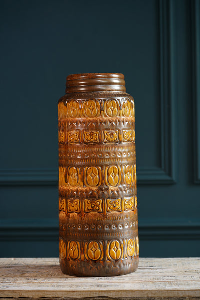 West German 1970's Large Brown and Tan Vase