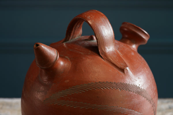 Handthrown Burnt Red Earthenware Vessel with Double Spout