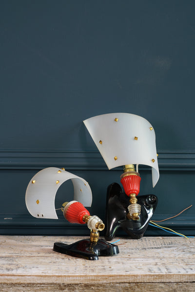 1960's Red, White, Perspex and Brass Ceiling Light with Two Matching Wall Lights
