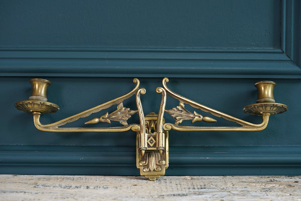 Pair of Double Brass Candlestick Sconces