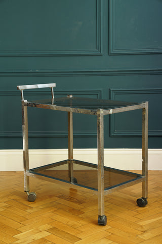 1970's Chrome and Smoked Glass Bar Cart