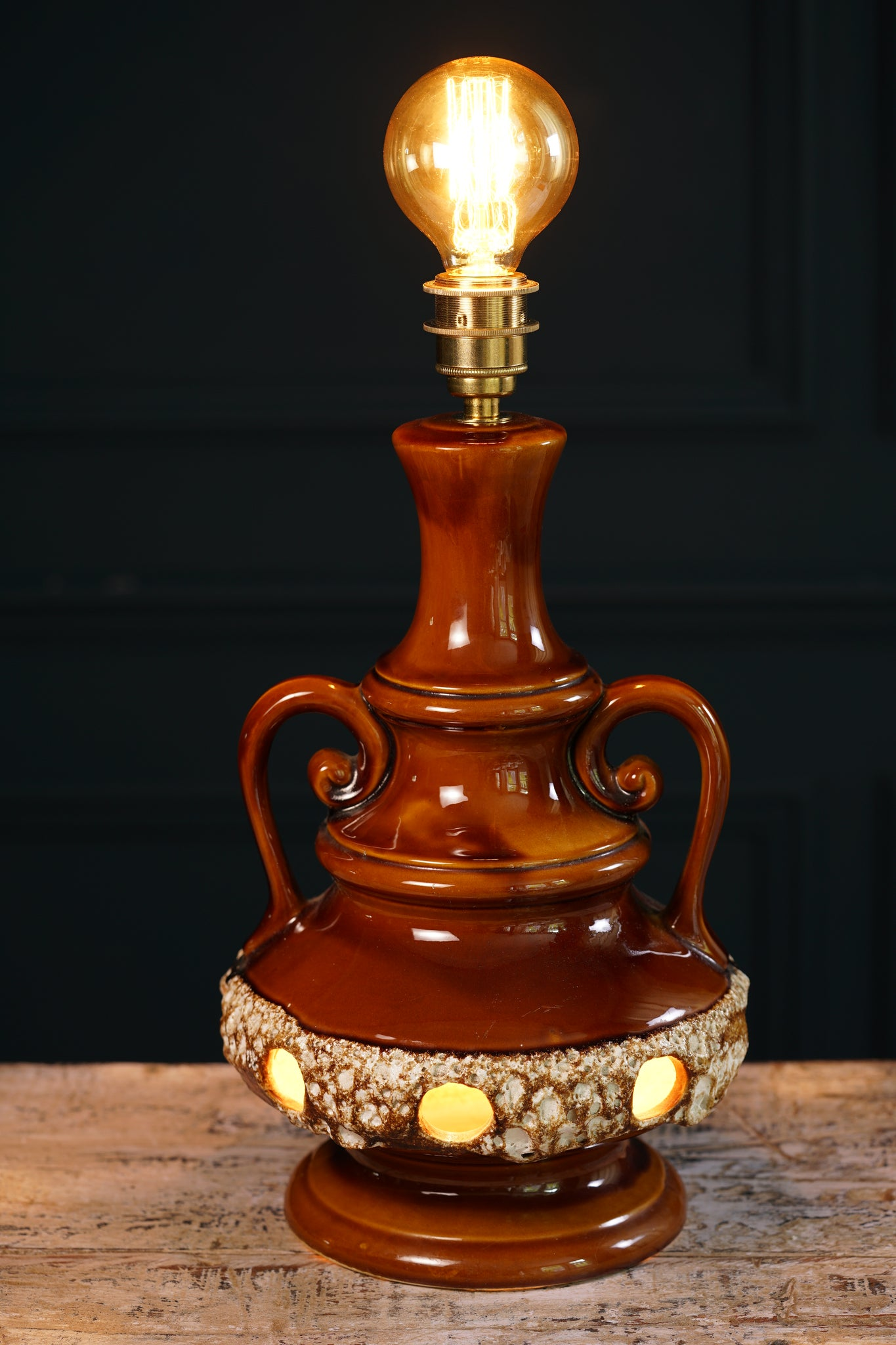 1960's West German-style Brown Ceramic Table Lamp with Double Bulbs