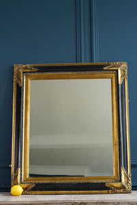 Gilt and Black Lacquer Ornate Mirror