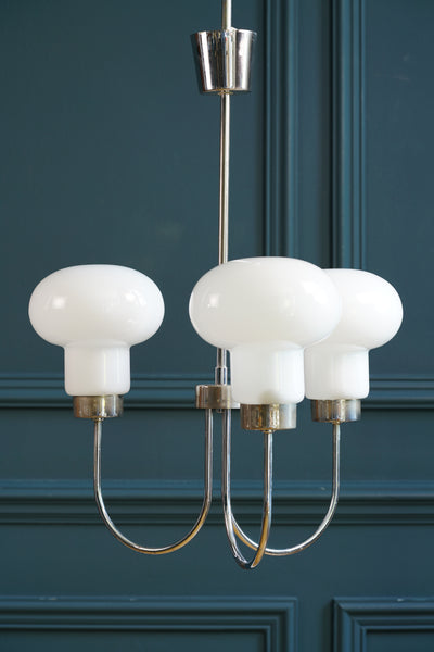 Opaque Glass and Chrome Three Arm Ceiling Light