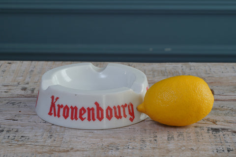 1980's Kronenbourg White Ceramic Ashtray