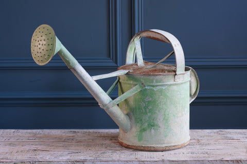 Green Painted Metal Watering Can with Spout