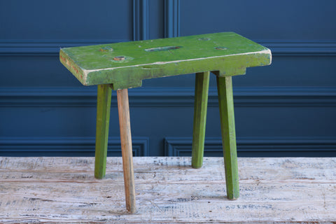 Rectangular Green Painted Handmade Wooden Stool