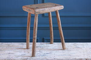 Tall Rectangular Handmade Wooden Stool